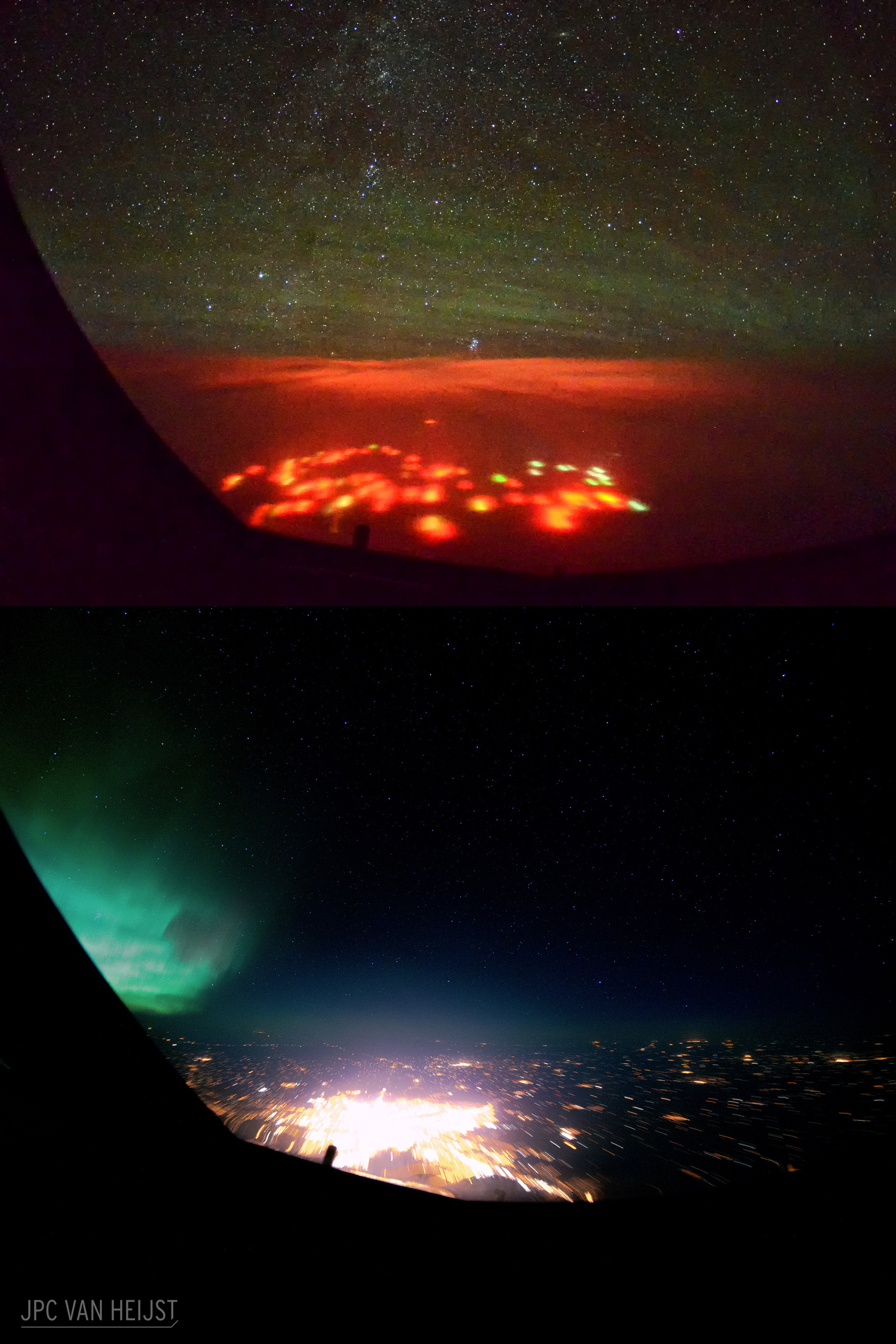 Red Lights over the Pacific Ocean